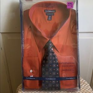 Mans NWT RUST color long sleeve shirt with tie